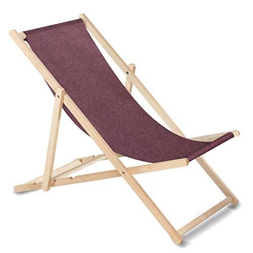 GreenBlue Liegestuhl Sonnenliege Klappbar aus Buchholz ohne Armlehne Sonnenliege Gartenliege Liege (Burgund Melange)