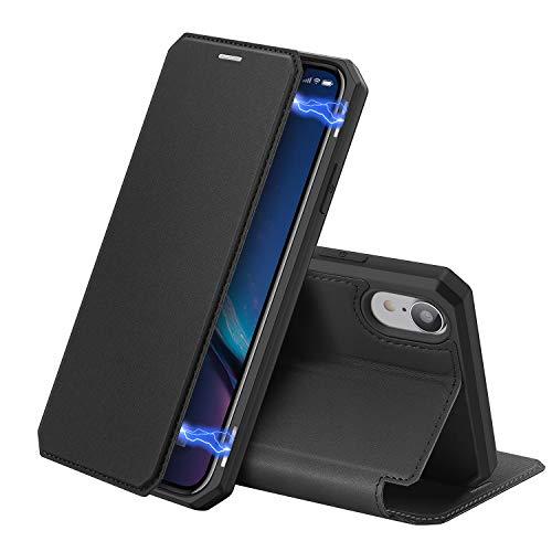 DUX DUCIS Hülle für iPhone XR, Premium Leder Magnetic Closure Flip Schutzhülle handyhülle für Apple iPhone XR Tasche (Schwarz)