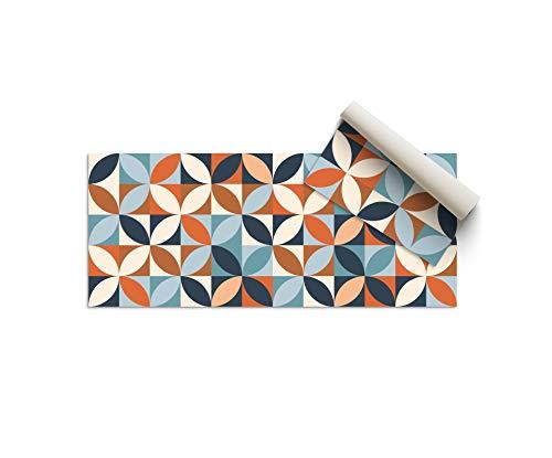 Alfombra Vinílica Cocina, Geometría Multicolor, 80 x 40 x 0.22 cm, Alfombra de Vinilo de Varios Tamaños con Base Antideslizante, Material Lavable y Recortable, ALV-110