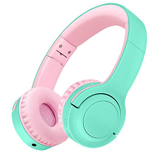 Picun Kids Bluetooth Headphones, 35 Hrs Playtime Foldable Stereo Kids Wireless Headphones 2020 Upgraded Model with USB-C Fast Charge and Built-in Microphone, for Phones/Pad Tables/PC (Green Pink)