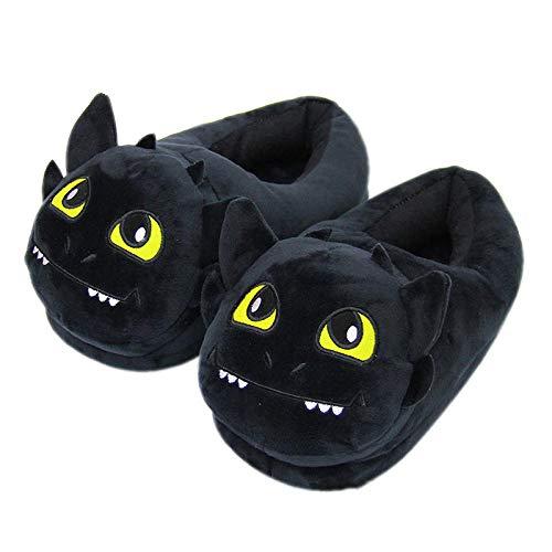 SHOESESTA Zapatillas de Estar por Casa Sweet Cat Pantuflas de Felpa Animales de Dibujos Animados Mujeres Invierno Muebles para El Hogar Calidez Ocio Zapatos de Piso Negro Smiley_One Size (35-42)