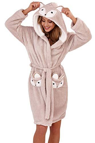 Loungeable, Damen Luxus mit Kapuze NEUHEIT lustiges Geschenk 3D Tier Robe - Eichhörnchen, L (44-46)