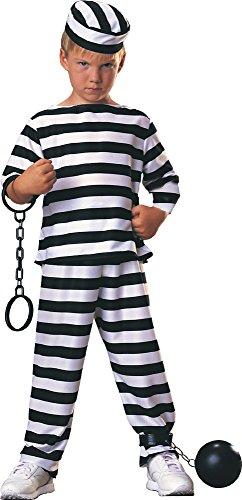 Disfraz de Preso para niño, presidiario a rayas, infantil 3-4 años (Rubie's 881917-S)