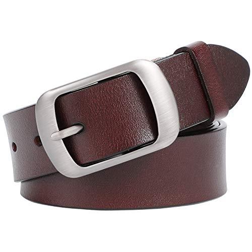 JasGood Damen Ledergürtel für Jeans Hosen Mode Kleid Gürtel für Damen mit Dornschließe, Kaffee, M