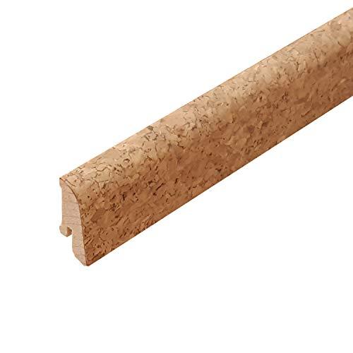 Korksockelleiste Fußleiste aus Echtholz mit Korkfurnier - Höhe: 40 mm - Tiefe: 20 mm - Länge: 2500 mm - Sie kaufen 1 Stück (1 Stück | 2,5 mtr, grob)