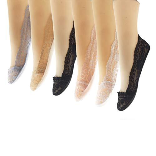 Kfnire Unsichtbare Socken Damen 6 Paar Damen Füßlinge Ballerina Anti Rutsch Socken Spitzen-Füßlinge Sommer Socken mit Rutschfeste Silikon (# A)