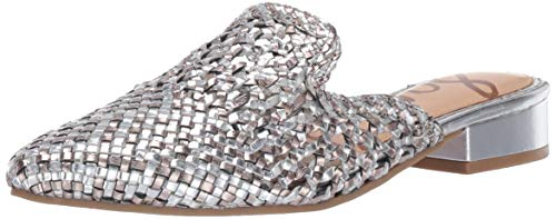 Sam Edelman Women's Clara Mule, Silver/Pewter Metallic Leather, 8.5 M US