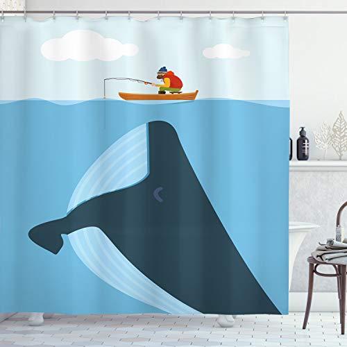 ABAKUHAUS Jahrgang Duschvorhang, Sonne Schiff Cartoon, mit 12 Ringe Set Wasserdicht Stielvoll Modern Farbfest & Schimmel Resistent, 175x180 cm, Mehrfarbig