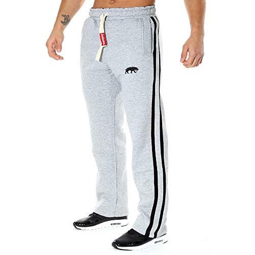 SMILODOX Herren Jogginghose Loose | Trainingshose für Sport Fitness Gym Training & Freizeit | Sporthose - Jogger Pants - Sweatpants Hosen - Freizeithose Lang, Farbe:Grau/Schwarz, Größe:L