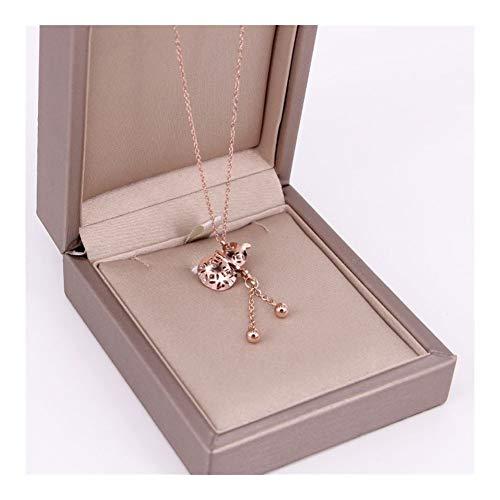 chenyou Colgante YUN RUO con borla de calabaza de la suerte, collar de oro rosa, joyería de acero de titanio, regalo para mujer nunca se desvanece (Color del metal: oro rosa)