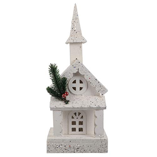 GARNECK Christmas Church Light House Snow Village Rustic Wood Lit Buildings Luminous Christmas Collectible Figurines Desktop Ornament for Xmas Party Favor Supplies White (No Battery)