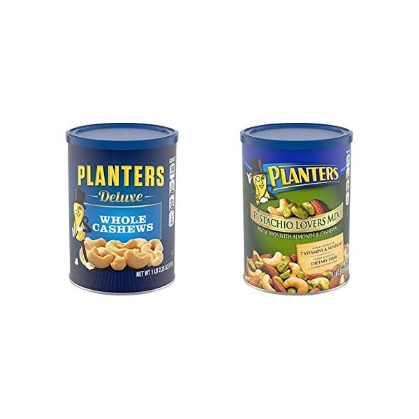 PLANTERS Deluxe Whole Cashews,  Resealable Jar | Energizing Snack Roasted in Peanut Oil with Sea Salt | Nutrient-Dense Snack & Good Source of Magnesium