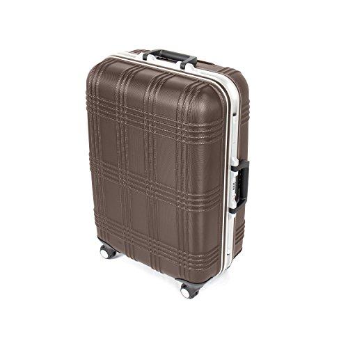 MasterGear Hartschalenkoffer mit Aluminium Rahmen in braun   Größe M: (67,5 x 45,5 x 26,5 cm / 55 Liter)   Koffer mit 4 Rollen (360 Grad)   Trolley, Reisekoffer, ABS, TSA, stapelbar