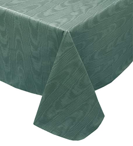 Newbridge Hunter Green Moire Wavy Solid Color Print Heavy Gauge Vinyl Flannel Backed Tablecloth, Hotel Quality Heavyweight Wipe Clean Tablecloth, (52 Inch x 52 Inch Square)