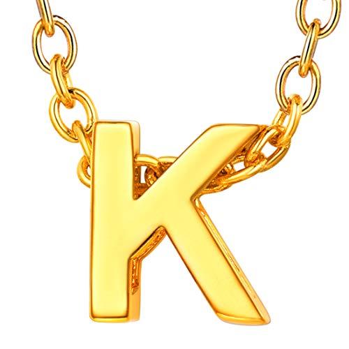U7 イニシャルネックレスK レディース 18金メッキ ゴールド ペアネックレス シンプル 小さめ 鏡面 おしゃれ 大人可愛い アクセサリー 母の日プレゼント