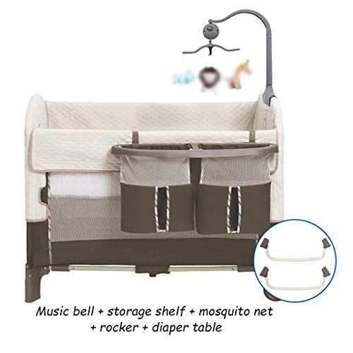 Review Of Newborn Baby Bed Easy Folding Portable Crib with Music Bell and Storage Shelf, Upper Layer...