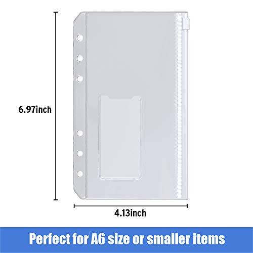 Sooez 12pcs Binder Pockets A6 Binder Zipper Folders, 6 Holes Zipper Binder Pocket with Label Pocket for 6-Ring Notebook Binder, Plastic Clear Zipper Binder Pouch Organizer for Cash, Cards Photo #3
