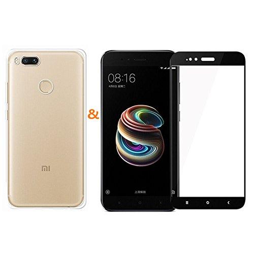 XMT Custodia per Xiaomi Mi 5X,Xiaomi Mi A1,Custodia in TPU Silicone Protettivo Case + 1 Pack Pellicola Protettiva Ultra Resistente in Durezza 9H Vetro Temperato Protezione Schermo per Xiaomi Mi 5X/A1