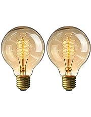 円形エジソン電球60W KINGSO 2個入E26 110V G80-64アンカー ヴィンテージ アンティークスタイル タングステン フィラメント電球 タングステン ガラスライト ホーム照明 装飾用器具