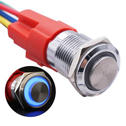 Taiss 19 mm IP65 impermeable Latching Interruptor de botón de metal de cabeza alta 3/4' 5A DC12V acero inoxidable azul Interruptor de anillo LED 1NO 1NC con toma de cable YJ-GQ19BH-L-B