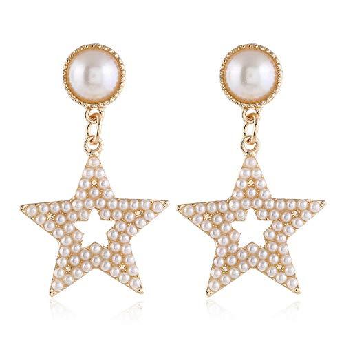NA Studs Earrings for Girls Women with Imitation Pearl Earrings, Star Pendant Earrings Accessories for Women