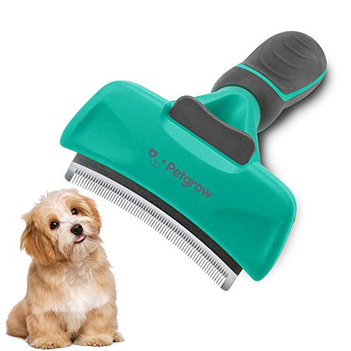 Petgrow Pet Grooming Brush Deshedding Tool with Cleaning Button for Dogs Cats, Dog Brushes with Stainless Safety Comb Blade for Small, Medium Pets