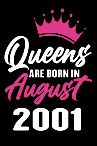 Queens Are Born In August 2001: 20th Birthday gift for Women & Girls Born in August 2001 | 20 Year Old 20th Birthday Notebook-Journal gift Ideas for ... friend, female, daughter, 120 Pages, 6x9