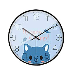 LL-Enjoyy Cartoon Style Wall Clock, Metal Frame Paper Coated Dial Glass Mirror Quartz Clock, Children's Room Kindergarten School Wall Decoration, 3030cm,Cat