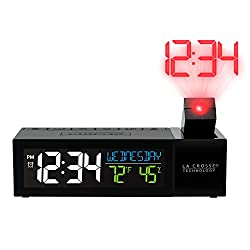 La Crosse Technology 616-1950-INT Pop-Up Bar Projection Alarm Clock with USB Charging Port, Standard, Black
