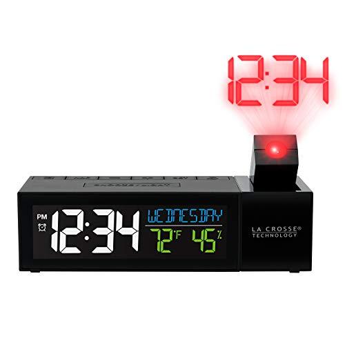 La Crosse Technology 616-1950-INT Pop-Up Bar Projection Alarm Clock with USB Charging Port, Standard, Black