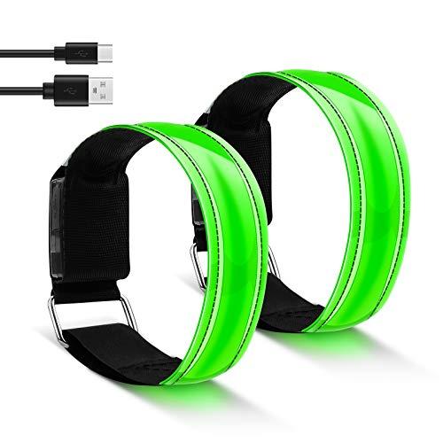 WERPOWER Led Armband, Led Reflektorband für Läufer Hohe Sichtbarkeit Sicherheit Reflektor Armband Reflektoren Jogging Licht für Nachtlauf, Joggen, Radfahren, Hundespaziergang