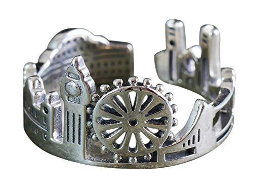 NicoWerk, anello da donna London in argento Sterling 925, skyline Horizont largo regolabile aperto SRI642