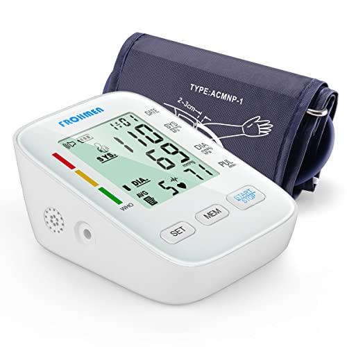Frohmen Tensiómetro de Brazo Digital,Tensiómetro de Brazo Para Medir la Presión Arterial y el Pulso, Gran LCD-Acrylic-Screen, Brazalete de 22-42 cm, 2*99 Memoria de Datos