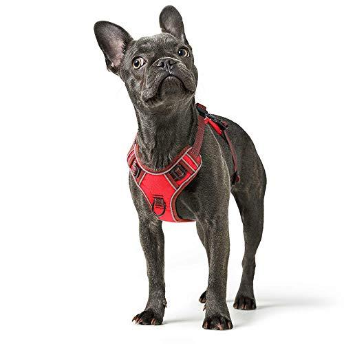 HEELE Hundegeschirr Hundegeschirr Grosse Mittelgroße Hunde Verstellbares Reflektierendes Hundegeschirr No Pull, Brustgeschirre für Hunde mit Post-Positiver D-Ringschnalle Rot M