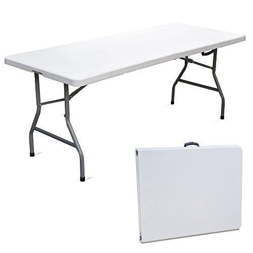 SF SAVINO FILIPPO Tavolo Tavolino Pieghevole richiudibile in Dura Resina 183x76xH72 cm per sagra Campeggio Fiera casa da Giardino Buffet Piedi in Ferro