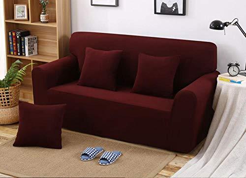 Elástica Cubierta de Asiento,Funda de sofá Gruesa de Color sólido de Punto elástico, Funda a Prueba de Polvo de sofá, cojín de sofá Completo-café_145-185cm