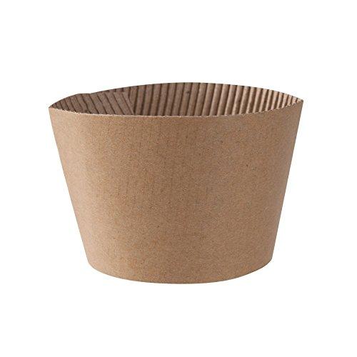 BIOZOYG Praktische Hitzeschutz Manschetten für Kaffee to Go Becher Einweg I Passend für 300ml 12oz und 400ml 16oz Kaffeebecher I 1000 Stück Griffhüllen braun ungebleicht unbedruckt recycelbar