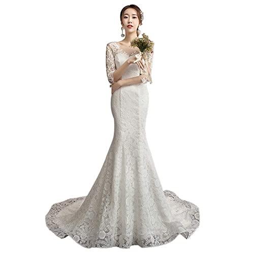 Vestido de Novia Prom Vestidos con Cuello en V Vestido de Novia de Sirena Vestido de Novia de Manga Larga de Encaje Vestidos de Noche, C-F, blanco, XS