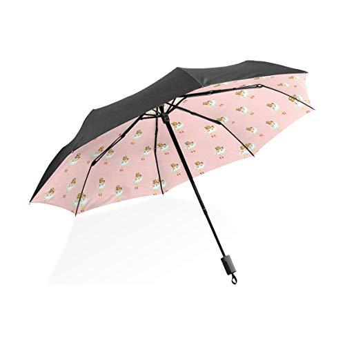 LUPINZ Regenschirm Ballerina Cartoon Balletttänzerin Mädchen rosa Muster für Sonne/Regen/Outdoor UV-Schutz