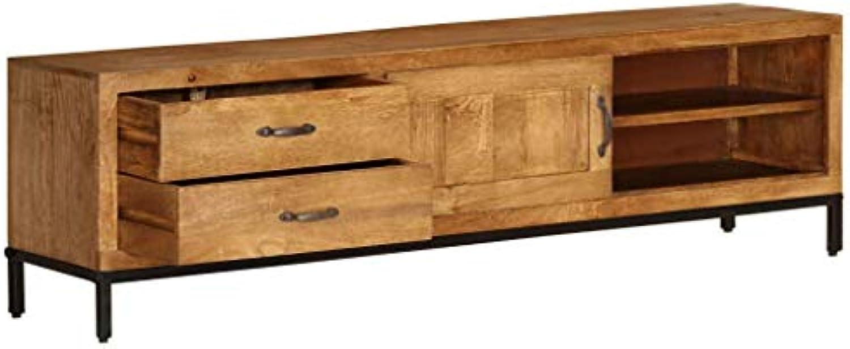 Tidyard- TV-Schrank Fernsehschrank TV-Regal Holz TV-Tisch mit 2 Schubladen und 2 Regalen 140 x 30 x 40 cm Massives Mangoholz