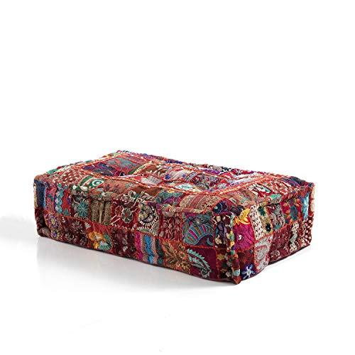 Oresteluchetta Rechteckiger Sitzsack Yantra Red Patchwork, Baumwolle, Einzigartig