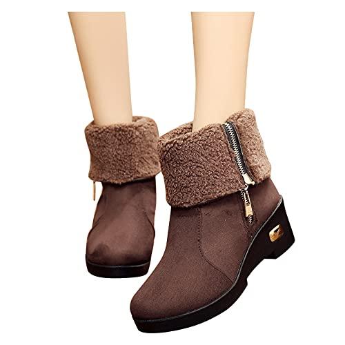 Dasongff Bottes d'hiver pour femme - Imperméables - Doublées - Chelsea - Avec fermeture éclair latérale - Décontractées - Bottes de cowboy