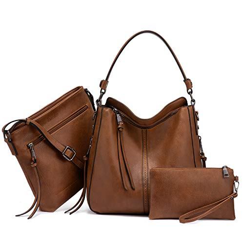 Realer Damen Handtaschen Mittel Shopper Lederhandtasche Schultertasche Umhängetasche Geldbörse Hobo Damen Taschen Set für Büro Schule Einkauf Reise 3pcs Braun