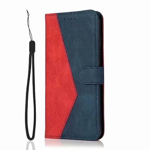 Funda para Samsung Galaxy A11/M11, funda para teléfono Samsung Galaxy A11/M11 a prueba de golpes, piel sintética, con cierre magnético, función atril, tarjetero, color rojo y azul