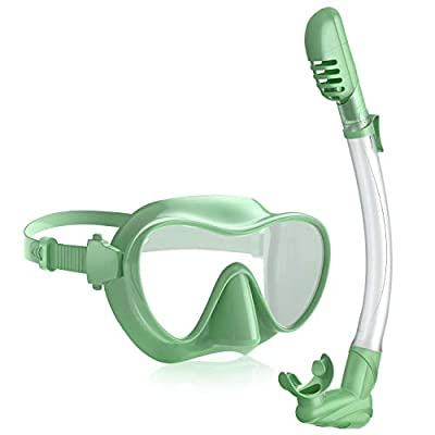 Rodicoco Snorkel Set Frameless Snorkel Goggles Foldable Snorkel Gear Detachable Snorkel Mask with 180° Panoramic View and Anti Fog Tempered Glass for Swimming Scuba Diving Snorkeling(Green, Adults)