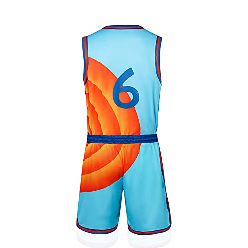Letitia Cecillia Adult Men #6 Space Movie Jersey Shorts Outfit Youth 90s Basketball Sports Hip Hop Party Shirts (Blue Adult #6 Space Basketball Jersey Shorts Outfit, Small)