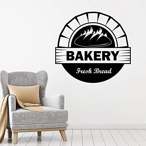 fancjj Boulangerie Logo Wall Decal Four Bakehouse Cuisson du Pain Frais Vinyle Fenêtre Autocollants Mural Bake Shop Cuisine Intérieur Décor Art