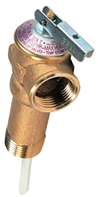 """Camco 10493 3/4"""" Temperature and Pressure Relief Valve with 4"""" Epoxy-Coated Probe - Extended Shank by Camco"""