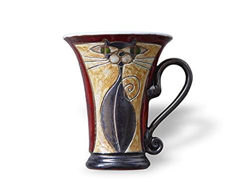 Pottery Coffee Mug, Cat Mug, Red Mug with Unique Hand Painted Decoration