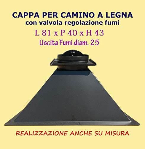 CAPPA PER CAMINO FOCOLARE LEGNA TRADIZIONALE USCITA FUMI DIAMETRO 25 CM